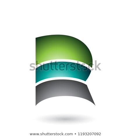 Zöld r betű három rétegek vektor illusztráció Stock fotó © cidepix