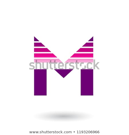 magenta and purple spiky letter m with horizontal stripes vector stock photo © cidepix