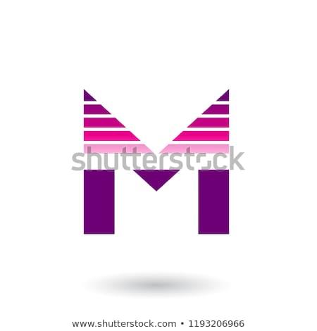 Kırmızı mor mektup m yatay vektör Stok fotoğraf © cidepix