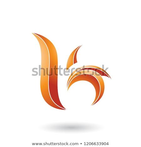 Orange Striped Leaf Shaped Letter B or K Vector Illustration Stock photo © cidepix