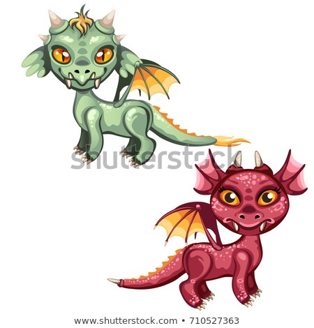 cute · dragons · rouge · vert · couleur - photo stock © Lady-Luck