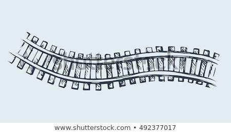 locomotief · schets · doodle · icon · vintage - stockfoto © rastudio
