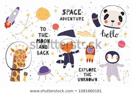 Foto stock: Little · girl · espaço · capacete · crianças · criança · arte