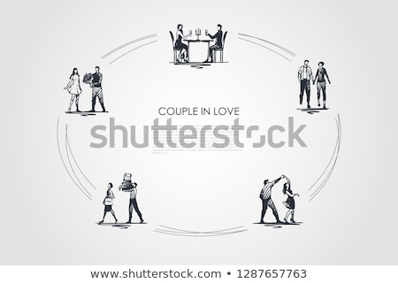 Dancing Couple Man And Woman Vector. Isolated Illustration Stock photo © pikepicture