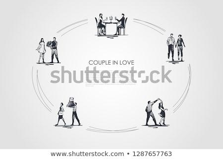 atraente · casal · festa · retro · celebração · data - foto stock © pikepicture