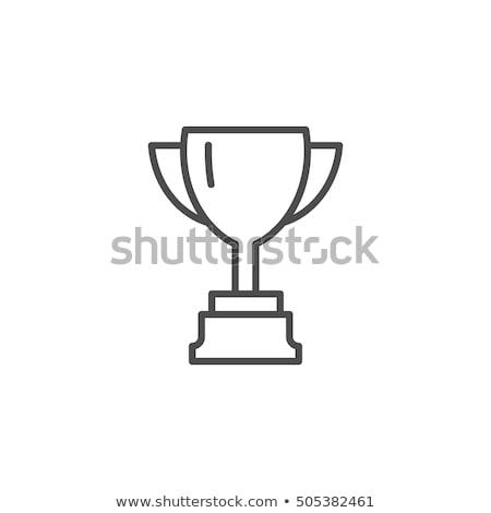 Trofeo línea icono blanco diseno taza Foto stock © Imaagio