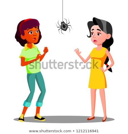 Paura teen ragazze spider muro vettore Foto d'archivio © pikepicture