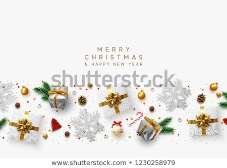 Illustration of a holly berries and tinsel on a white background. Stock photo © fresh_5265954