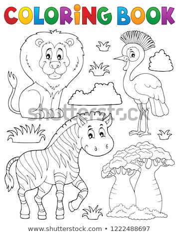 Coloring book African nature theme set 3 Stock photo © clairev