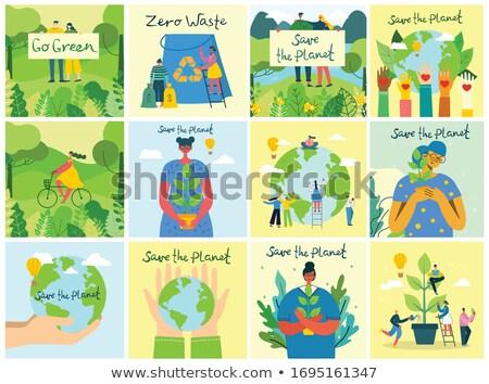 Alimentos orgánicos anunciante personas las personas que trabajan tierra árboles Foto stock © robuart