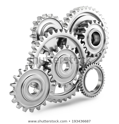 Gears Production - Mechanism of Shiny Metal Gears. 3D. Stock photo © tashatuvango