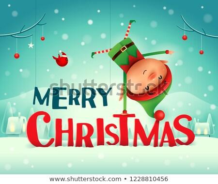 Vrolijk christmas weinig elf permanente arm Stockfoto © ori-artiste