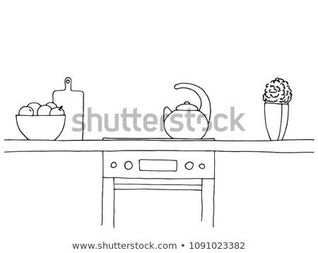 kroki · mutfak · soba · diğer · ev - stok fotoğraf © Arkadivna