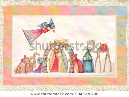 man painting an angel of a nativity scene Stock photo © nito
