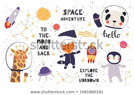 Karikatür gülen astronot kız mutlu çocuk Stok fotoğraf © cthoman
