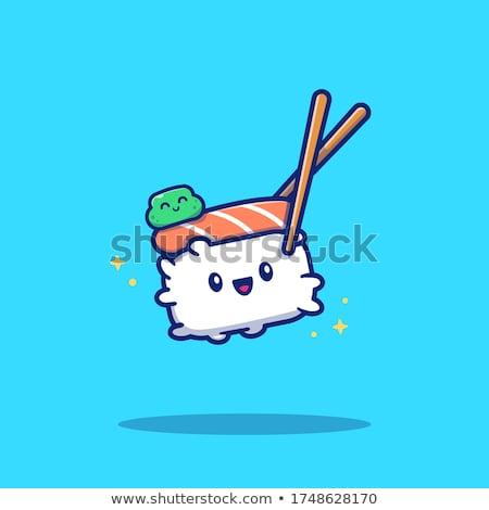 Glimlachend sushi rollen cartoon mascotte karakter eetstokjes Stockfoto © hittoon