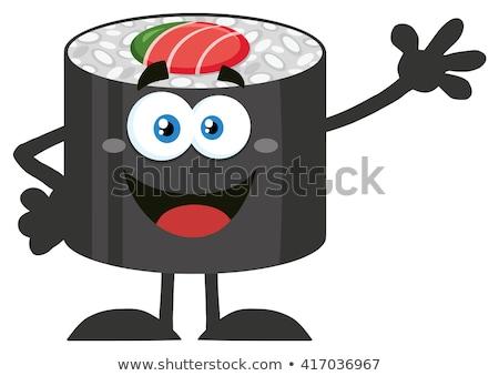 Zâmbitor sushi rula mascota de desene animate Imagine de stoc © hittoon