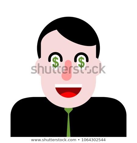 money in eyes dollars on mind greedy boss vector illustration stock photo © maryvalery