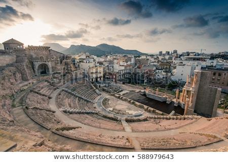 Római színház panoráma templom kék éjszaka Stock fotó © benkrut