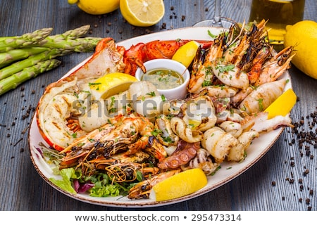 a seafood plate with lobster and scallop stock photo © bluering