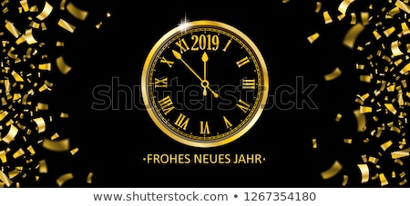 Novo anos ouro relógio bandeira feliz ano novo Foto stock © cienpies