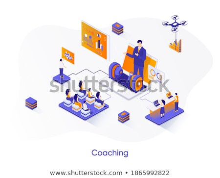 ストックフォト: ビジネス · コーチング · 現代 · カラフル · アイソメトリック · 紫色