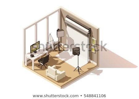 Vecteur isométrique photo studio matériel d'éclairage blanche Photo stock © tele52