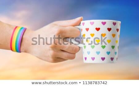 Handen cacao beker homo bewustzijn Stockfoto © dolgachov