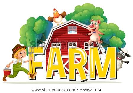 çiftlik · hayvanları · çiftçi · poster · örnek · Bina · arka · plan - stok fotoğraf © colematt