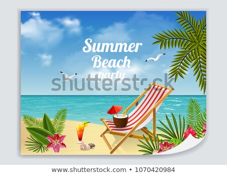 Paper template with chairs on the beach Stock photo © colematt