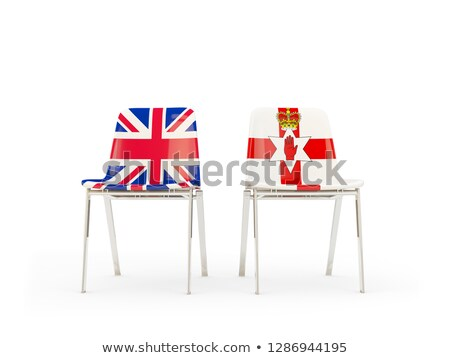 Two chairs with flags of UK and ireland isolated on white Stock photo © MikhailMishchenko