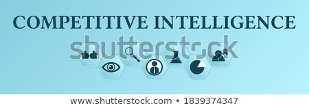 Konkurencyjny inteligencja banner ludzi biznesu żarówka Zdjęcia stock © RAStudio