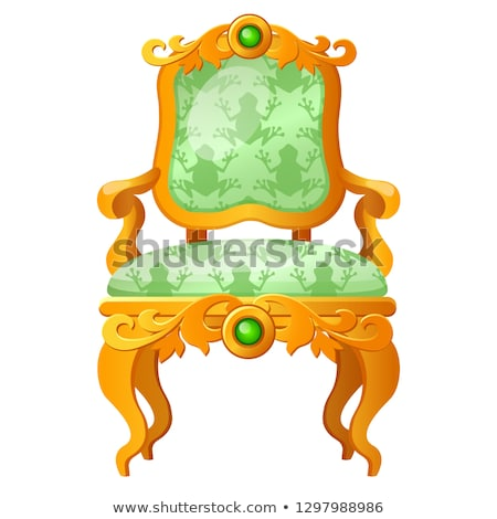 Golden fairy tale royal throne with a print in the form of a green frog isolated on white background Stock photo © Lady-Luck
