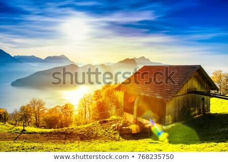 belo · nuvens · céu · acima · verde · montanha - foto stock © boggy
