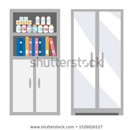 Veterinarian Bookcase with Files and Bottles Set Stock photo © robuart