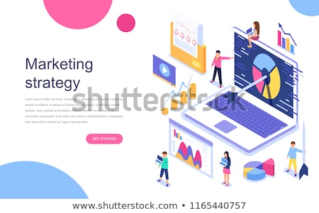 Stock photo: Isometric flat vector landing page template of content marketing strategy.