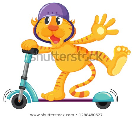 Tiger playing kick scooter Stock photo © colematt