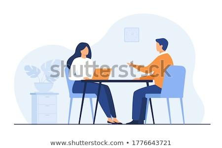 Patrão empregador mulher entrevista reunião equipe Foto stock © robuart