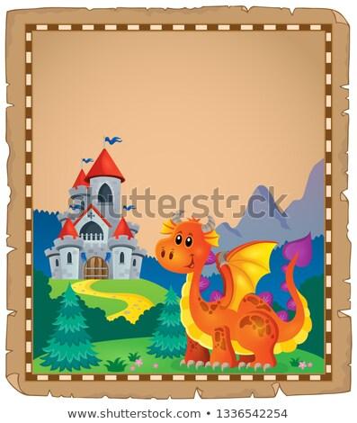 Dragon · castello · pergamena · carta · fuoco · costruzione - foto d'archivio © clairev