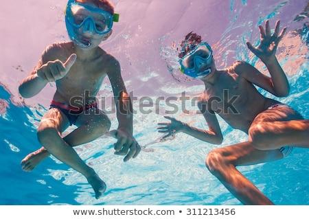 2 子供 ダイビング マスク 水中 プール ストックフォト © galitskaya