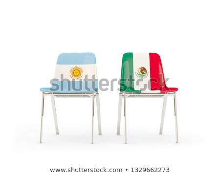 Two chairs with flags of Argentina and mexico Stock photo © MikhailMishchenko