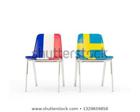 Due sedie bandiere Francia Svezia isolato Foto d'archivio © MikhailMishchenko