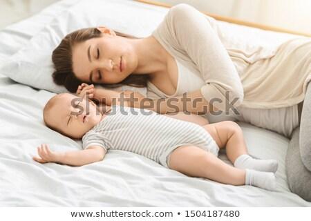 Küçük uyku ebeveyn yatak kumaş Stok fotoğraf © Lopolo