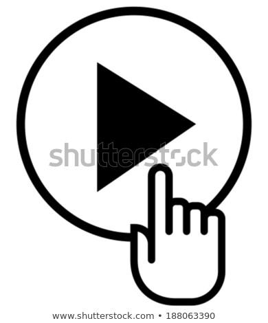 Hand mouse cursor with play button in circle. vector illustratio Stock photo © kyryloff