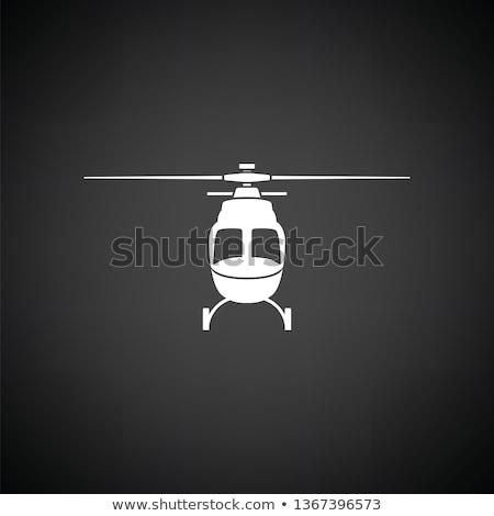 Helikopter ikon elöl kilátás feketefehér technológia Stock fotó © angelp