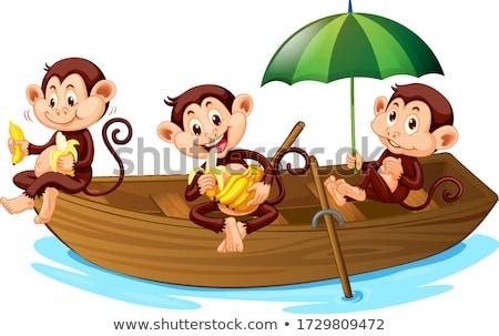 Stock fotó: Majmok · csónak · illusztráció · sok · tenger · óceán