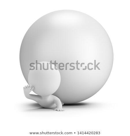 3D mały ludzi piłka obraz biały Zdjęcia stock © AnatolyM
