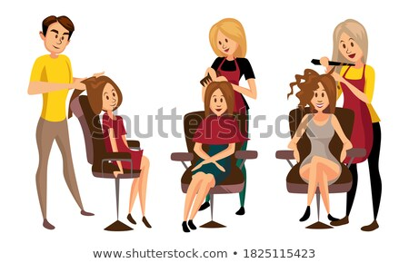 Stockfoto: Man · zitting · gesneden · illustratie · vergadering · barbier