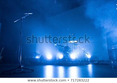 Mikrofon pusty ciemne etapie koncertu miejscu Zdjęcia stock © unweit