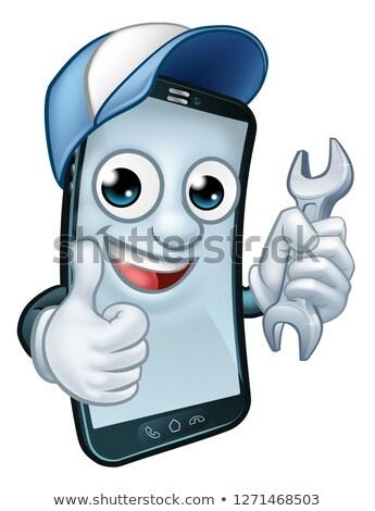 мобильного · телефона · ремонта · гаечный · ключ · талисман · службе - Сток-фото © krisdog